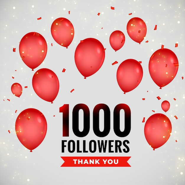 1000 followers greeting background with flying balloons Free Vector