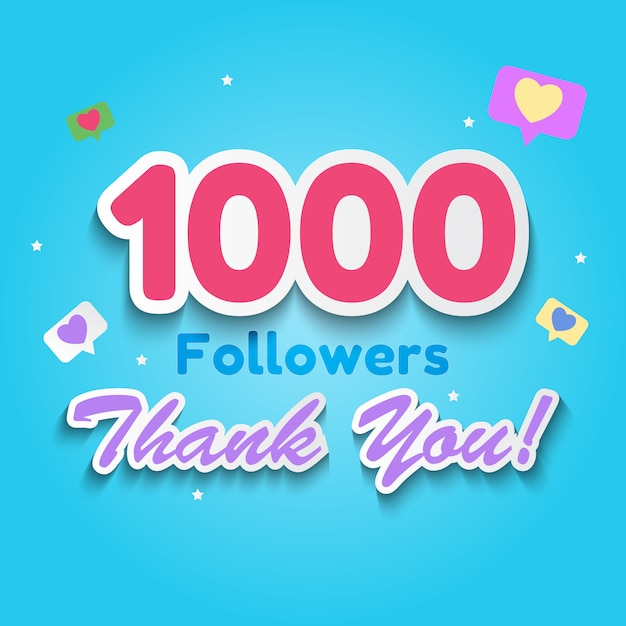 1000 followers, thank you background for social network friends Premium Vector