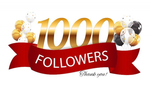 1000 followers. thank you background Premium Vector