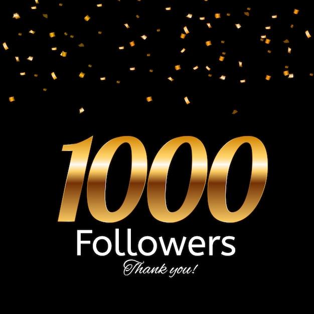 1000 подписчиков. спасибо фон Premium векторы