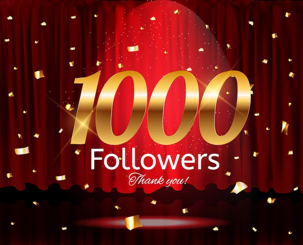 1000 followers. thank you. background Premium Vector