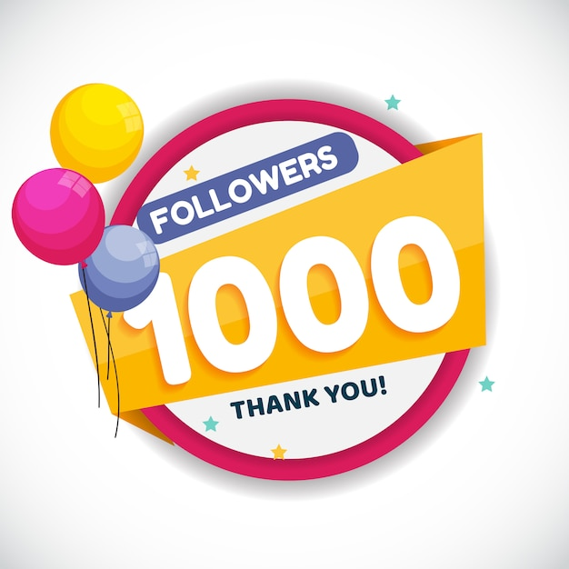 1000 followers. thank you banner Premium Vector