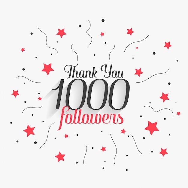 1000 social media followers thank you post design Free Vector