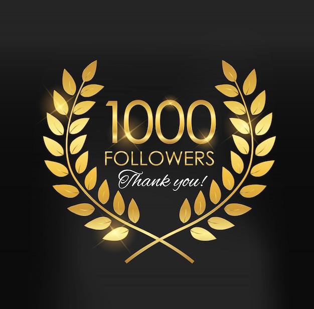 1000人のフォロワー、ソーシャルネットワークの友人の背景に感謝 Premiumベクター