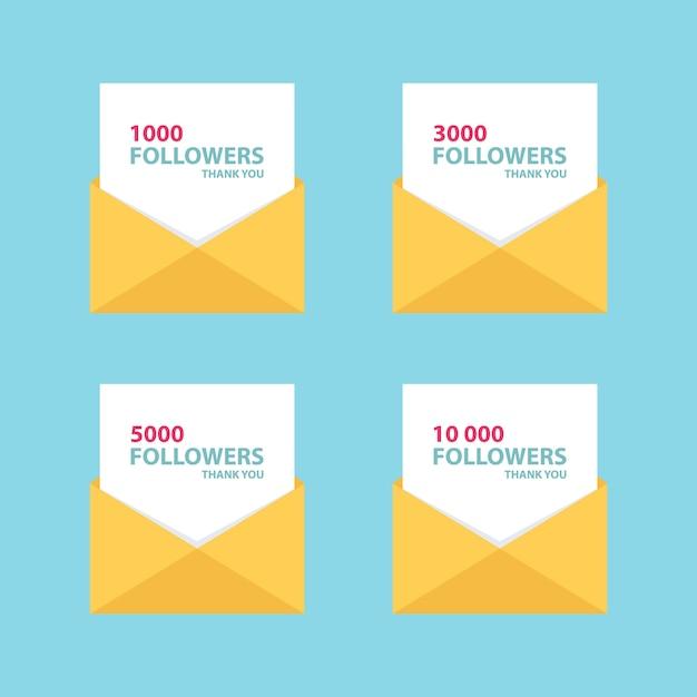 1000人のフォロワー、封筒付きの感謝状 Premiumベクター