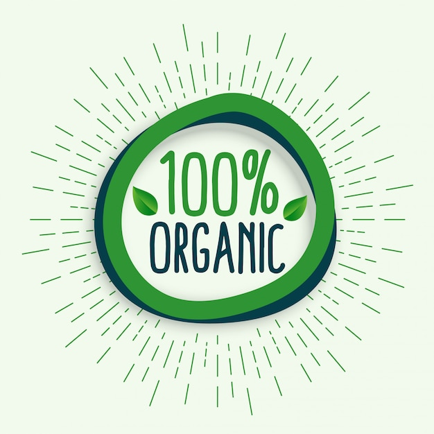 100% органический. свежие здоровые натуральные органические продукты питания символ Бесплатные векторы