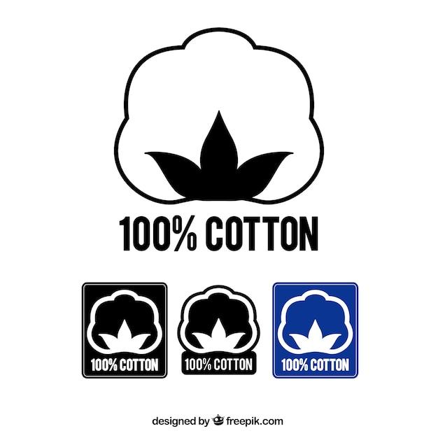 綿100%のラベル 無料ベクター