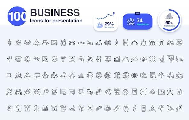 プレゼンテーションのための100のビジネスラインアイコン Premiumベクター