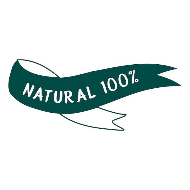 100%天然および有機食品タイポグラフィーベクター 無料ベクター