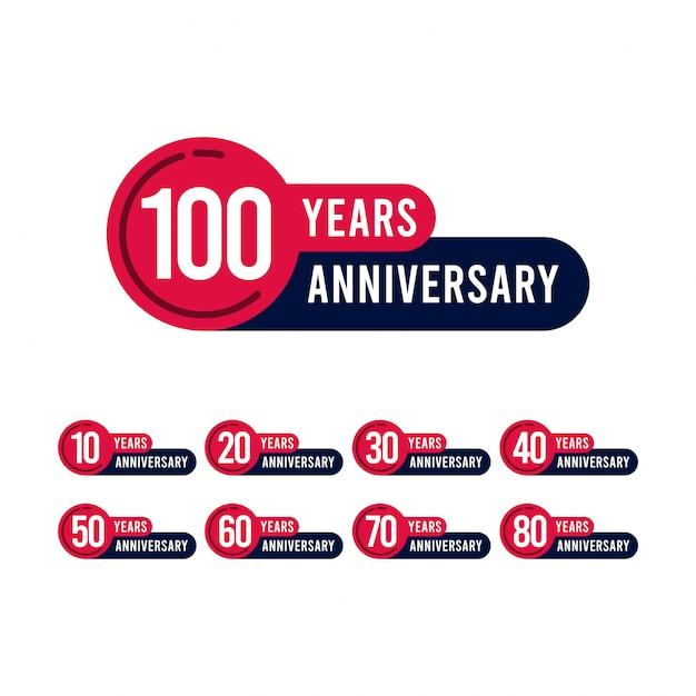 100年周年記念テンプレートデザインイラスト Premiumベクター