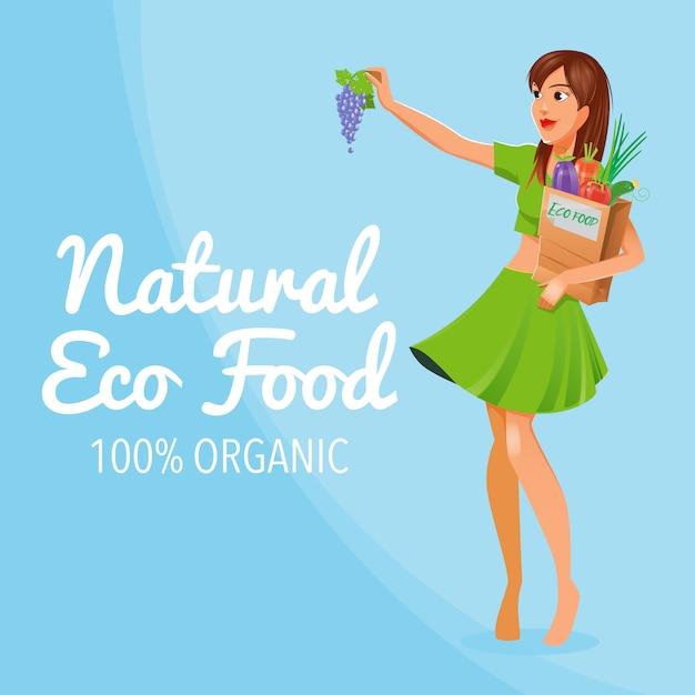 自然なエコ食品。 100%オーガニック食品。健康食品。エコ食品を持つ少女。 Premiumベクター
