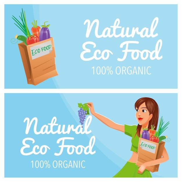 自然なエコ食品。 100%オーガニック食品。健康食品。エコ食品の紙袋。 Premiumベクター