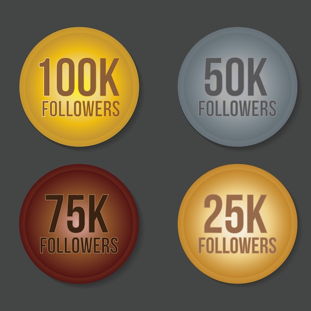 100k 75k 50k 25k followers gold silver copper letter sticker Premium Vector