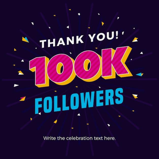 100k followers banner Premium Vector