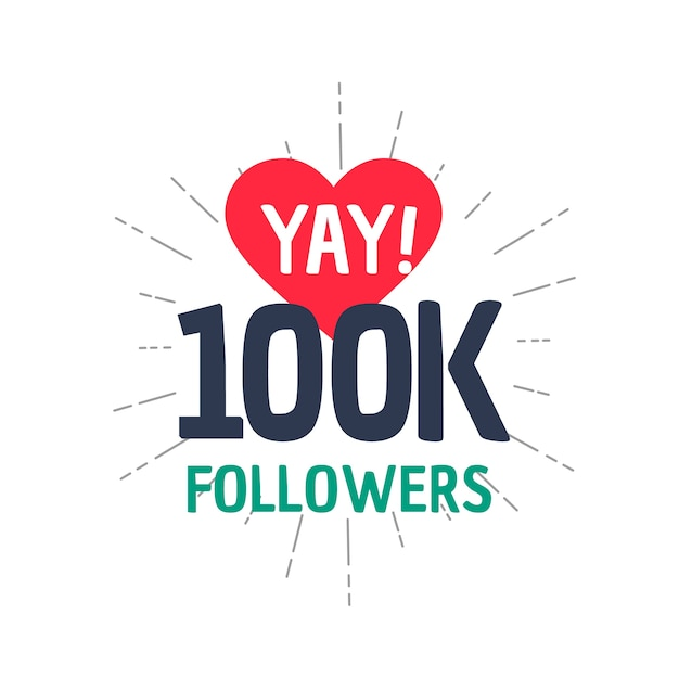 100k followers design Free Vector