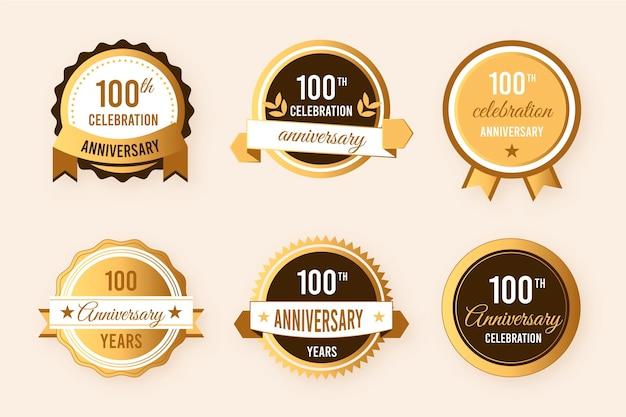 Коллекция значков к 100-летию Бесплатные векторы