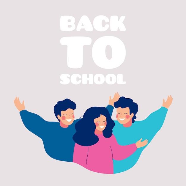 幸せな10代の若者がお互いを抱きしめて学校グリーティングカードに戻る Premiumベクター