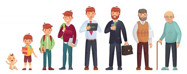男性の異なる年齢。生まれたばかりの赤ちゃん、10代の少年と学生の年齢、成人男性、老人。人の世代の図 Premiumベクター
