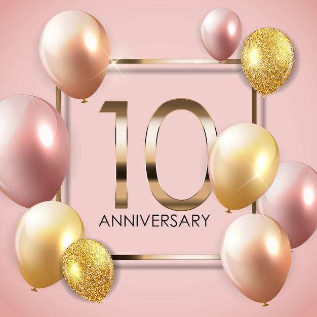 風船でテンプレート10年周年記念背景 Premiumベクター