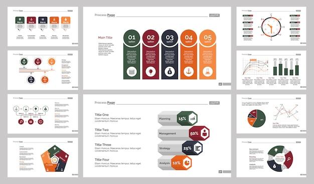 10種類の統計スライドテンプレートセット 無料ベクター