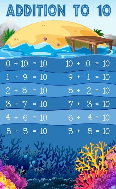 10への教育的な数学の追加 無料ベクター