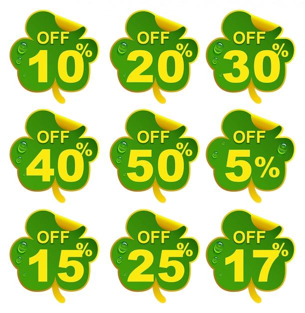 Скидка на продажу листьев клевера. 10-процентное предложение в день святого патрика Premium векторы