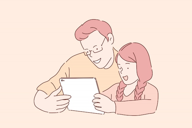 幸せな家族の娯楽。タブレットでビデオを見ている父と娘、オンラインゲームをしている兄と妹、陽気な兄弟、ガジェットゲームを楽しむ10代の若者。シンプルフラット Premiumベクター