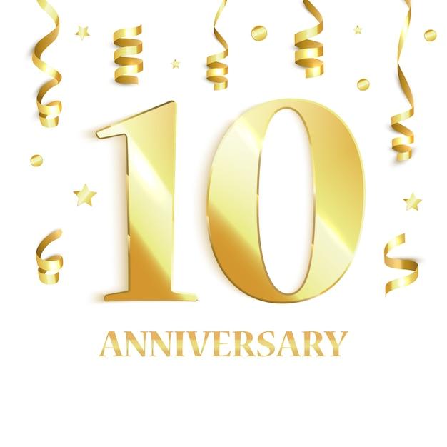 10周年記念。ベクトル図 Premiumベクター