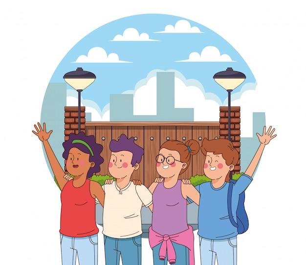 楽しい漫画を持っている10代の若者の友達 無料ベクター