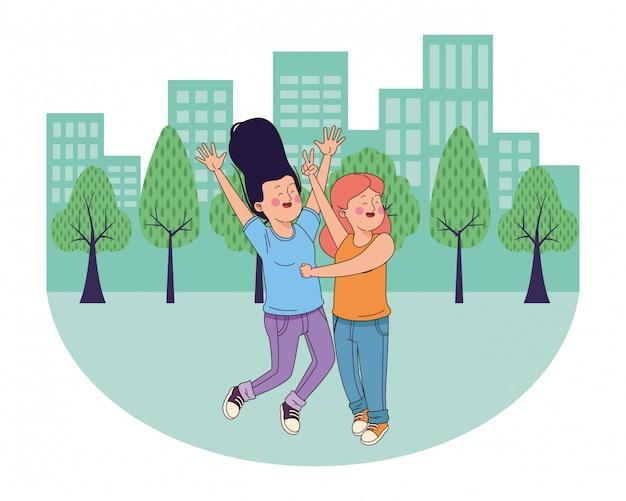 10代の若者の友人笑顔と楽しい漫画 Premiumベクター