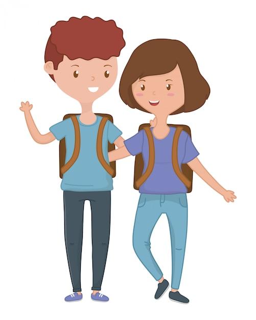 10代の少年と少女漫画 無料ベクター