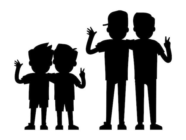 白い背景 - 赤ちゃん男の子と10代の男の子の黒いシルエットに分離された親友のシルエット Premiumベクター