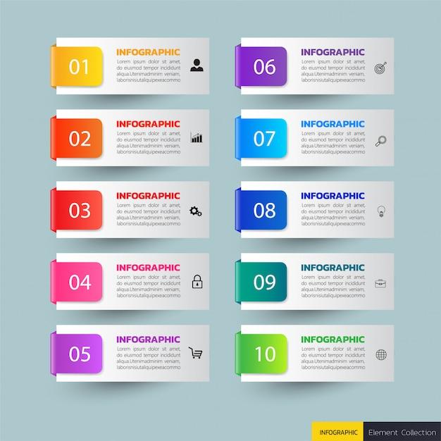 10 шагов инфографики баннеры Premium векторы