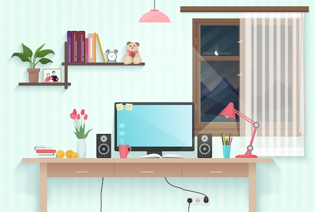 10代の女の子の部屋の職場 Premiumベクター