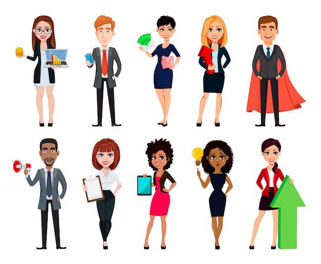 ビジネスマン、10の漫画のキャラクターのセット Premiumベクター
