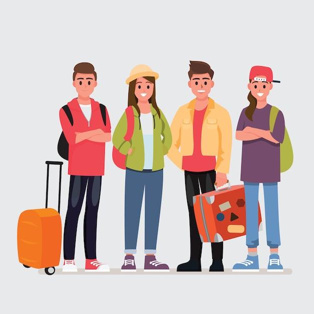 10代の旅行者の幸せなグループ Premiumベクター