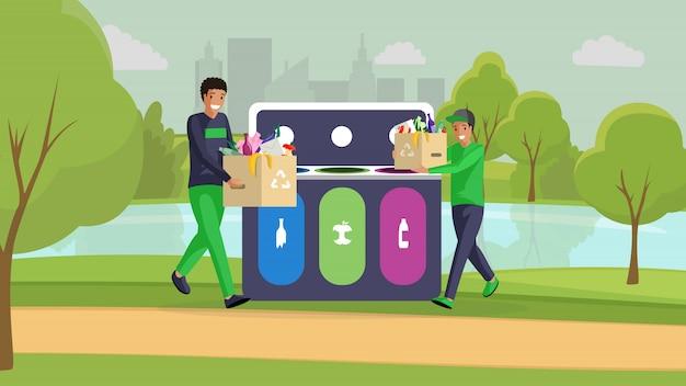 10代の少年が公園のカラーイラストをクリーニングします。ゴミを出したり、ゴミを分別したり、汚染を減らしたりする幸せな人たち。ボランティア、ゴミを分別し、漫画のキャラクターを掃除する活動家 Premiumベクター