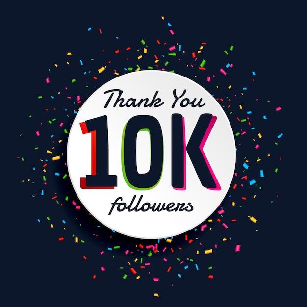 10k followers design with confetti vector free download