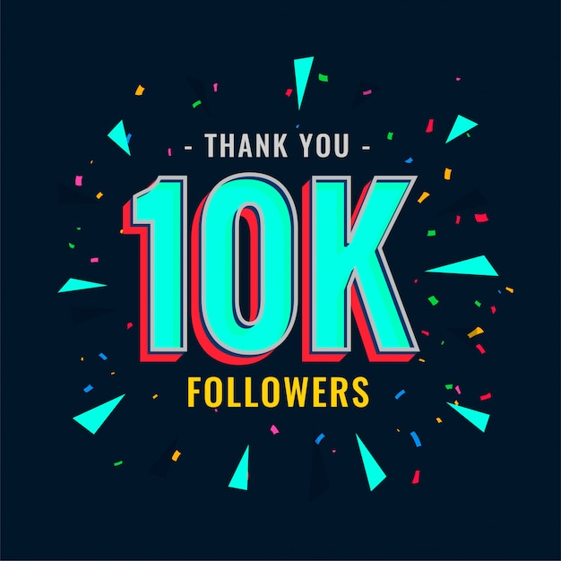 10k social followers and subscribers template Free Vector