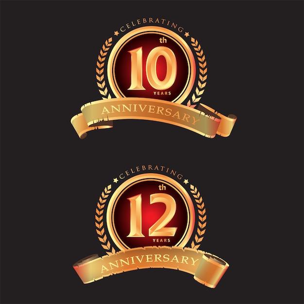 10-я 12-я годовщина празднования классического дизайна логотипа премиум на черном фоне Premium векторы