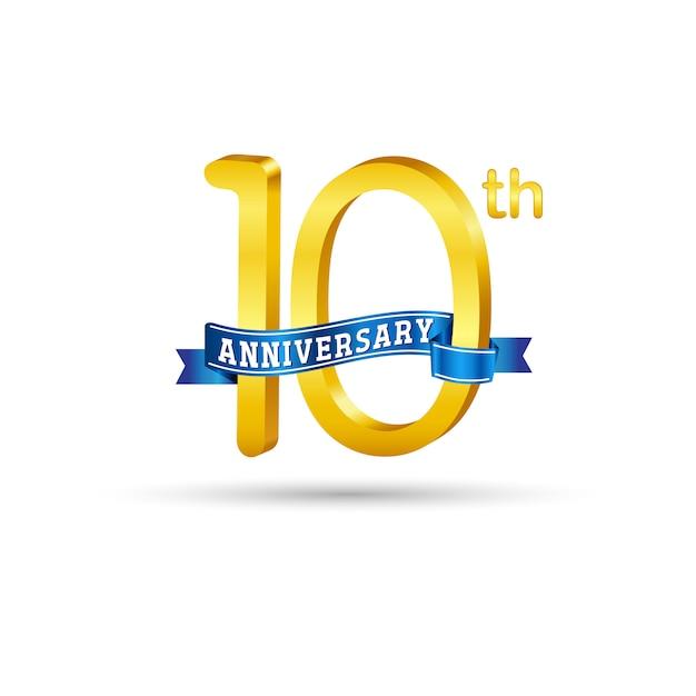 10-й золотой юбилей логотип с голубой лентой на белом фоне. 3d золотой логотип 10th anniversary Premium векторы