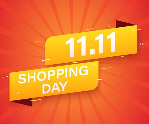 11.11 рекламный баннер для продажи шаблона. глобальный торговый день продаж плакат. Premium векторы