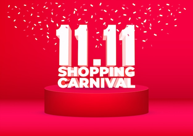 11.11 shopping carnival sale poster or flyer design. Premium Vector