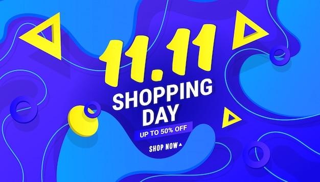 11.11 торговый день продажи баннер фон с многоугольной формы градиента на синем фоне Premium векторы