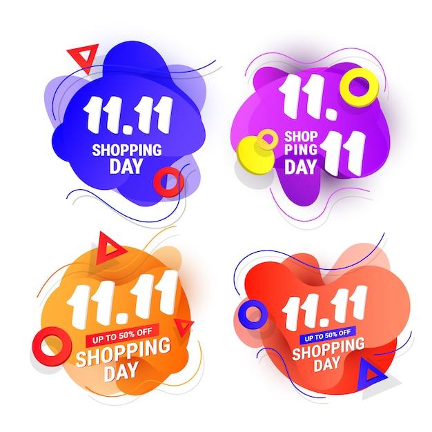 11.11 торговый день продажи дизайн баннера с пластиковой жидкой градиентной волны и градиентных форм Premium векторы