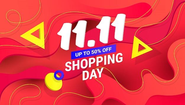 11.11 торговый день продажи дизайн баннера с пластиковой жидкой градиентной волной и текстом для обложек Premium векторы