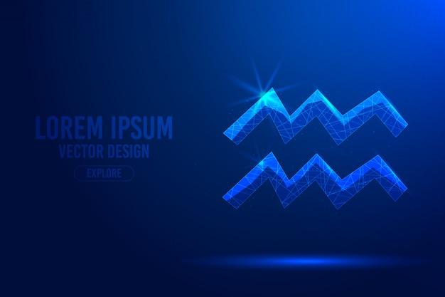 水瓶座11星座抽象的な背景。星座、天体の星座の線形および多角形の3 dコンセプト。 Premiumベクター