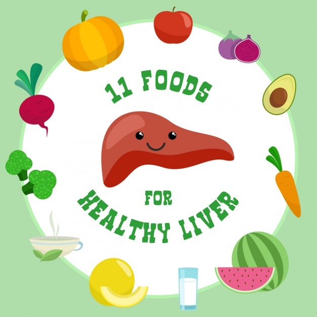 11 foods for a healthy liver Free Vector