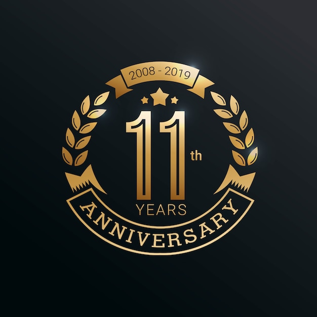 Premium Vector 11 Years Anniversary Logo With Gold Style
