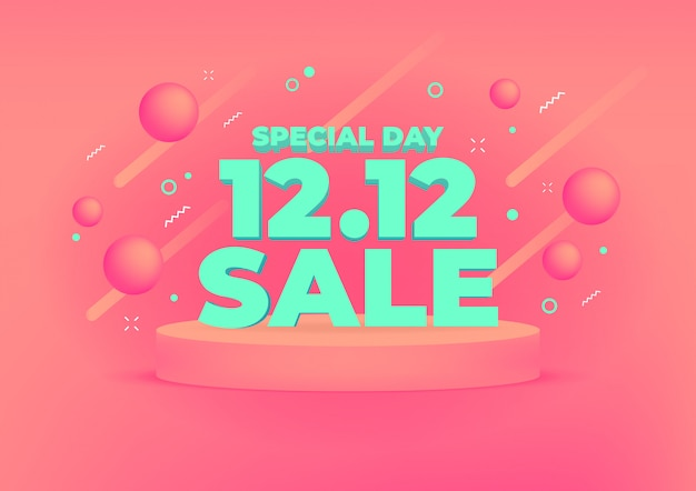 12.12 shopping day sale banner background. Premium Vector